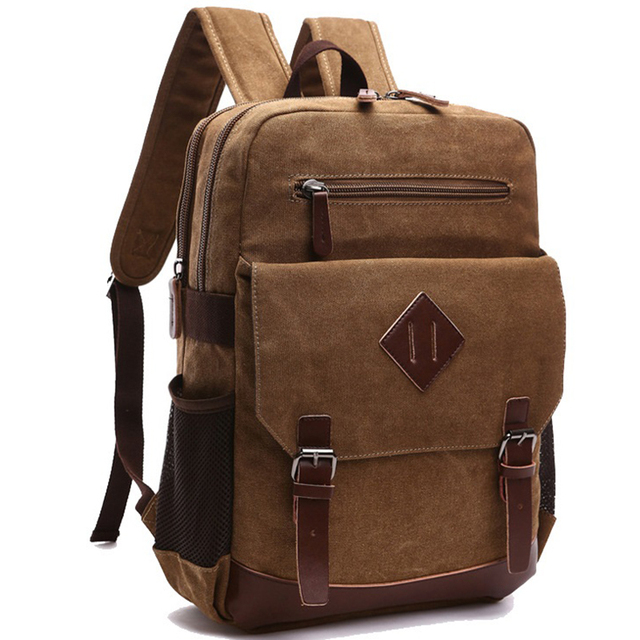 aec54361cda7 Casual Men Backpack Canvas College School Student Retro Rucksacks Male  Travel Bag Multi-Function Laptop