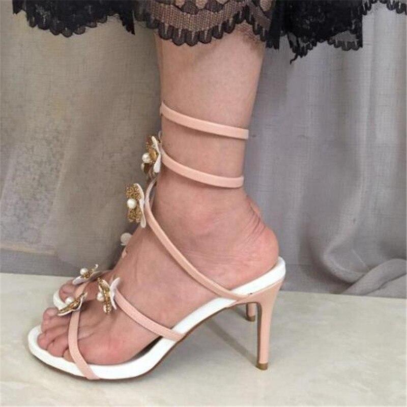 ff39e5fd729f92 Mischfarbe Gladiator Schuhe Okhotcn Weibliche Rosa Damen Sandalen Blume 8cm  Kreuzgurt Sommer Weiß 10cm Hohe Frauen p50xq0ET