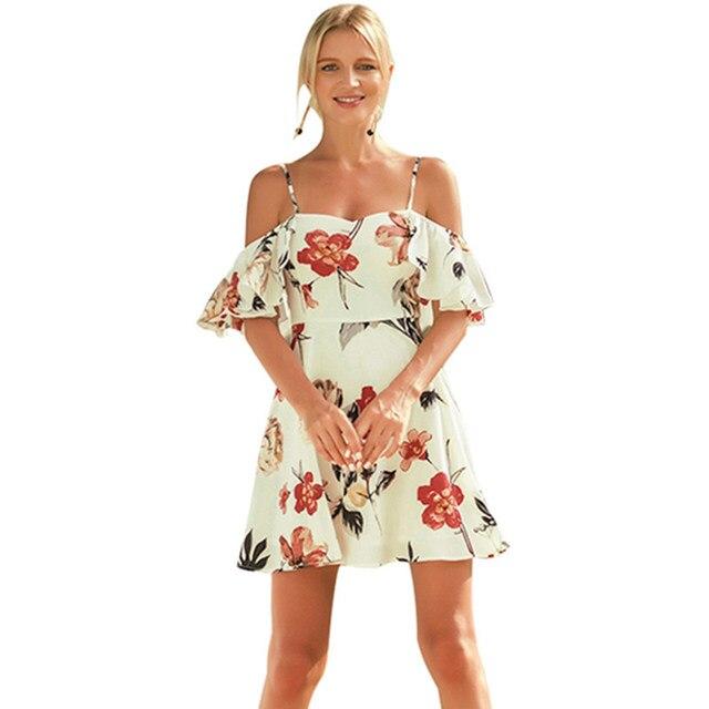 45519bf8e vestido playa con hombros descubiertos vestido estampado floral vestidos  verano moda 2019 ropa mujer talla grande