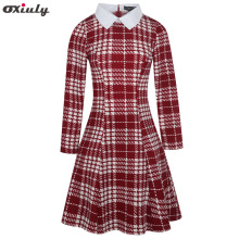 Oxiuly Women Autumn Winter Long Sleeve A Line Dress Plaid Houndstooth Lady Casual Office Vintage Rockabilly A-line Dresses
