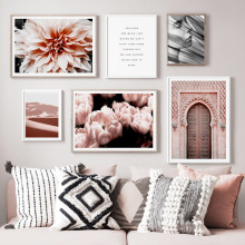 Morocco Door Flower Plant Desert Girl Nordic Posters And Prints Wall Art Canvas Painting Pictures For Living Room Decor