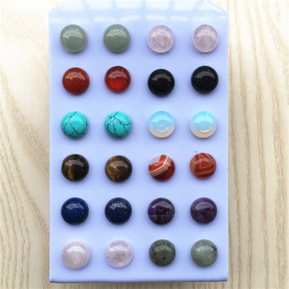 New Simple Trendy Geometric Round Mixed Color Natural Stone Stud Earrings For Women Fashion Cute Small Earrings Wholesale 12PCS