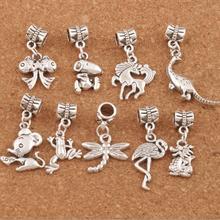 Crane Dragon Dinosaur Horse Dragonfly Frog Charm Beads 90PCS Antique Silver Dangle Fit European Bracelets Jewelry DIY BM9 frog charm beads 30 8x15 6mm 100pcs antique silver dangle fit european bracelets jewelry diy b167