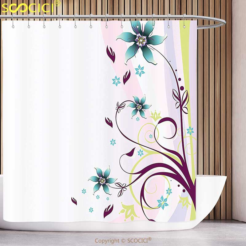 Funky Shower Curtain Floral Nature Ivy Swirls Flowers Leaves With Wavy Like Light Pink Geometric Backdrop Image Multicolor
