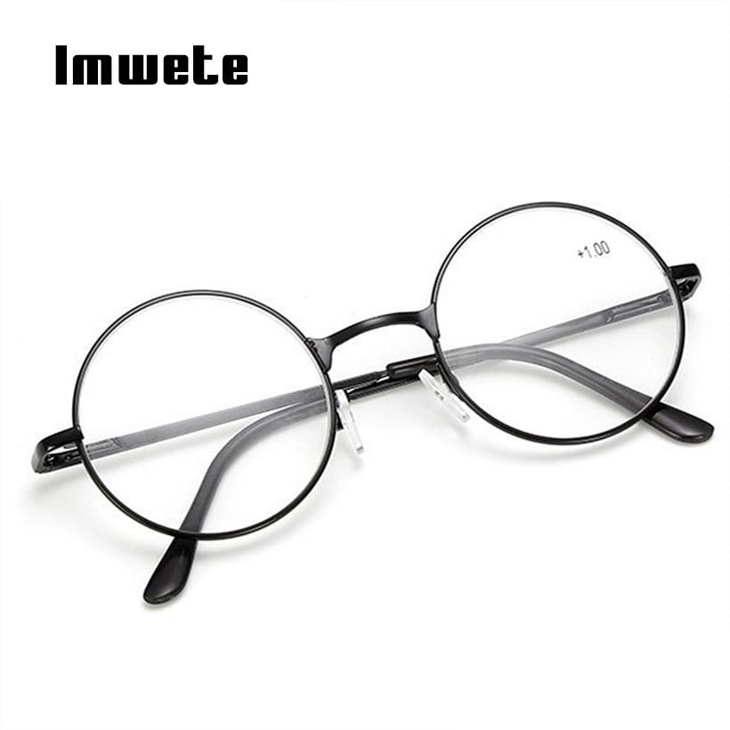 9d039e74fa Imwete Vintage Reading Glasses For Men Women Round Metal Frame Glasses  Female Hyperopia Prescription glasses +
