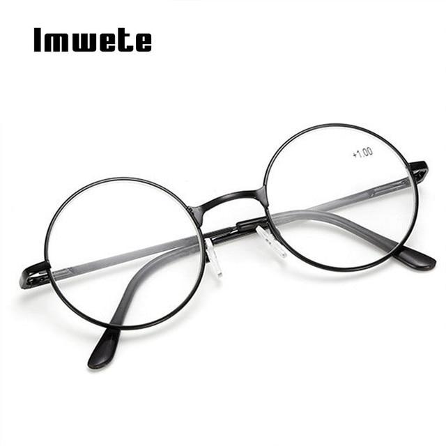 4cb81c594908 Imwete Vintage Reading Glasses For Men Women Round Metal Frame Glasses  Female Hyperopia Prescription glasses +1.0 +2.0 + 4.0