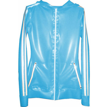 Rubber Top Latex Unisex Light Blue and White Stripe With Zipper Hooded Coat Size XXS-XXL