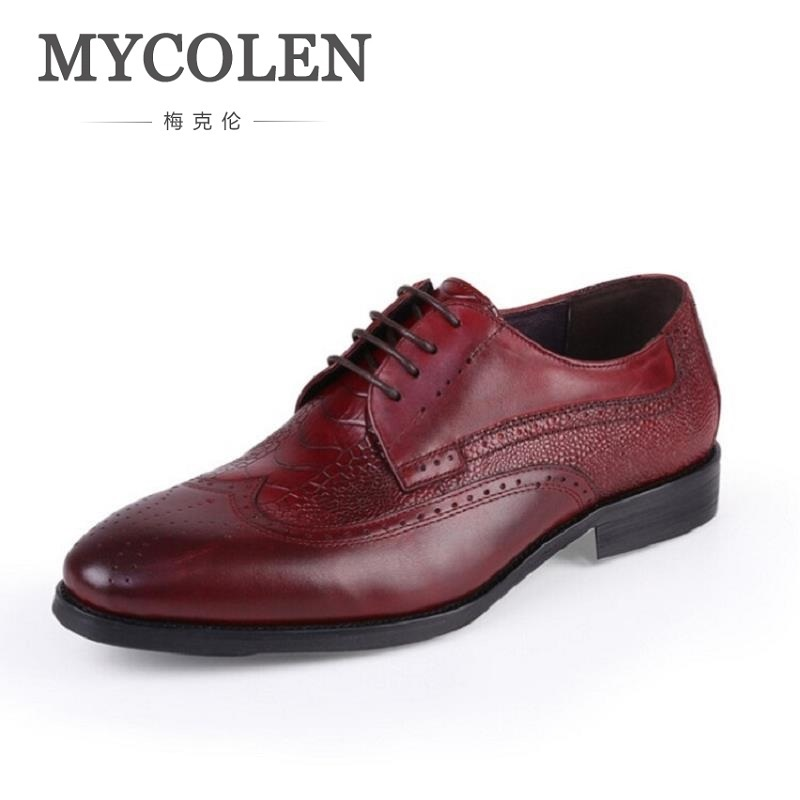 MYCOLEN Pointed Toe Mens Dress Shoes Office Lace-Up Leather Shoes Men'S Party Driving Oxfords Man Vintage Carved Brogue Flats mycolen 2018 new fashion mens oxfords vintage dress shoes luxury brand comfort office man shoes for party sepatu pria