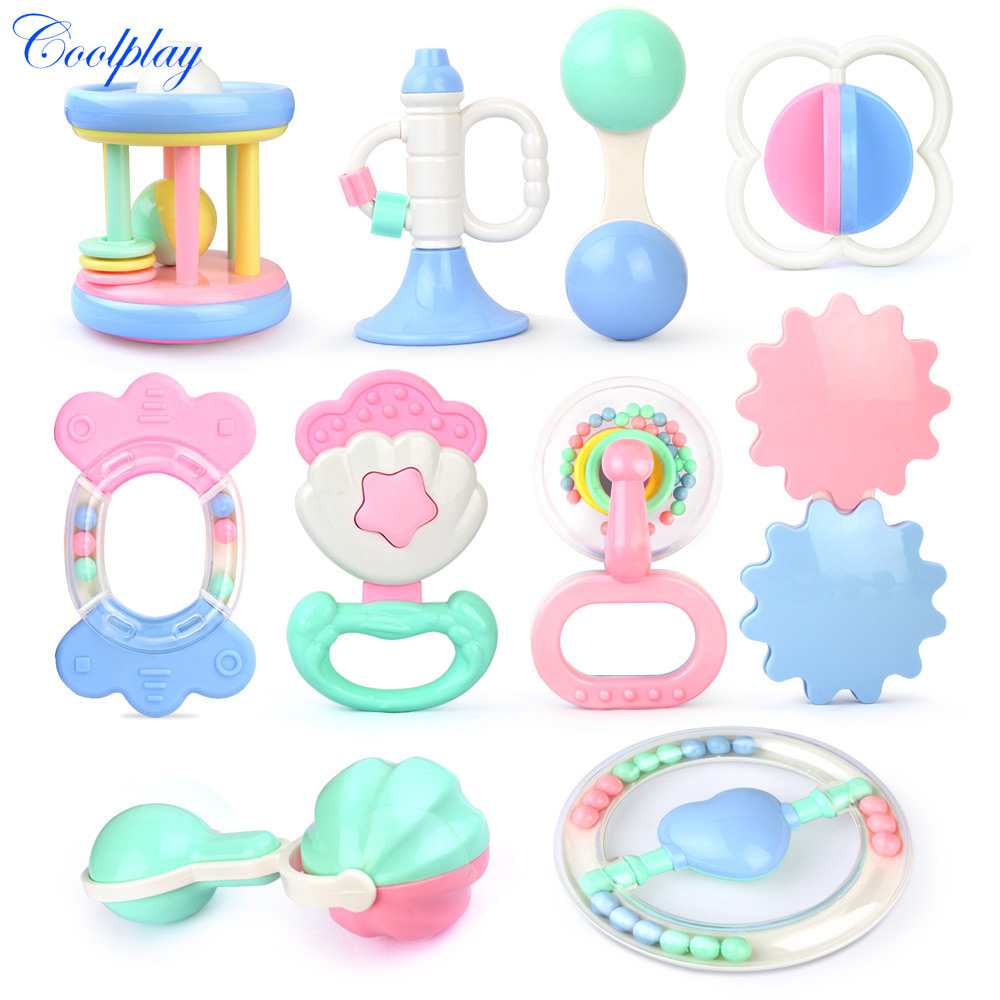 Coolplay Baby Toys Hand Hold Jingle Shaking Bell Hand Shake Bell Ring Baby Rattles Toys Newborn Baby 0- 12 Months Teether Toys