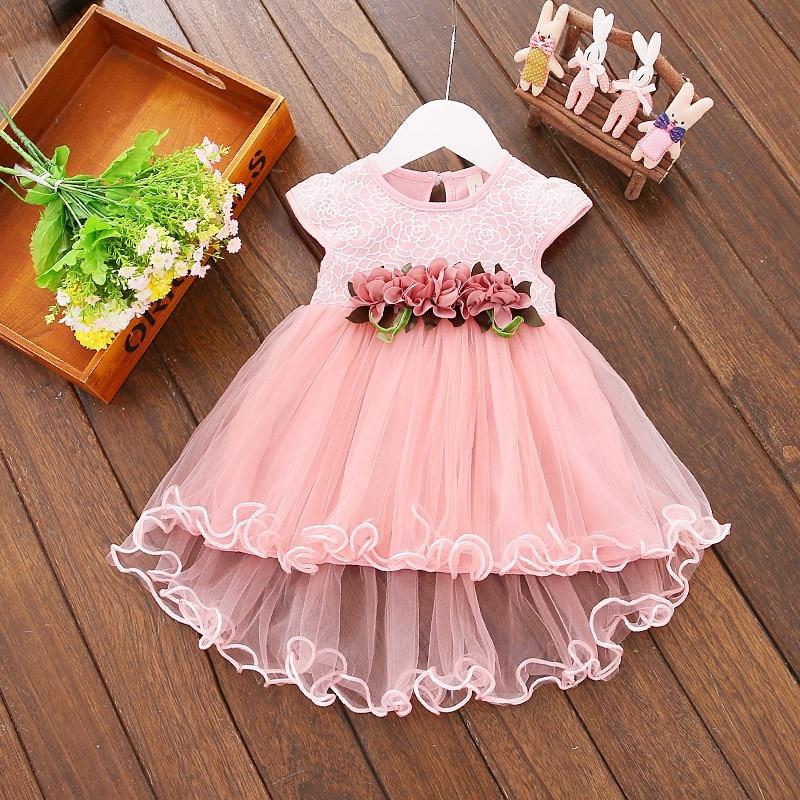 Cute Baby Girls Summer Floral Dress Princess Party Tulle Flower Dresses Toddler Infant Girls Mesh Tutu Dress 0-3Y Clothing 2