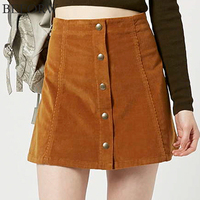 Women Casual Skirt 2017 Party Mini Womens High Waist Short Skirts Autumn Button Lace Up Suede
