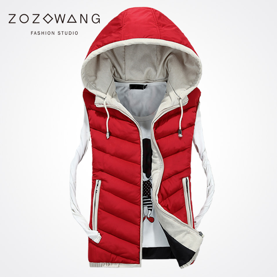 Zozowang Mens Vest Winter Men Brand Hat Detachable Vest Male Fashion solid Waistcoat Jacket and Coat Warm Vest 3XL