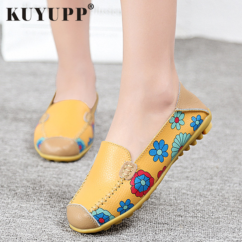 KUYUPP soft Leather Driving Loafers Slip On Women Flat Shoes 4 color big size comfort working shoes Floral Split cute SDT913 engine timing locking tool set kit for fiat 1 3 cdti ford vauxhall opel suzuki diesel