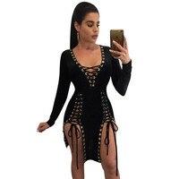 Plus Size Women Party Dresses 2017 Autumn V Neck Long Sleeve Lace Up Mini Dress Sexy
