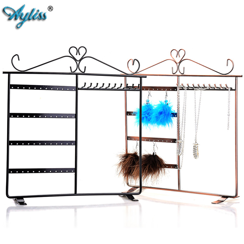 Ayliss New European Style Earrings Necklace Hanger Jewelry Display Rack Jewelry Earring Organizer Stand Holder 48 Holes&10 Hooks