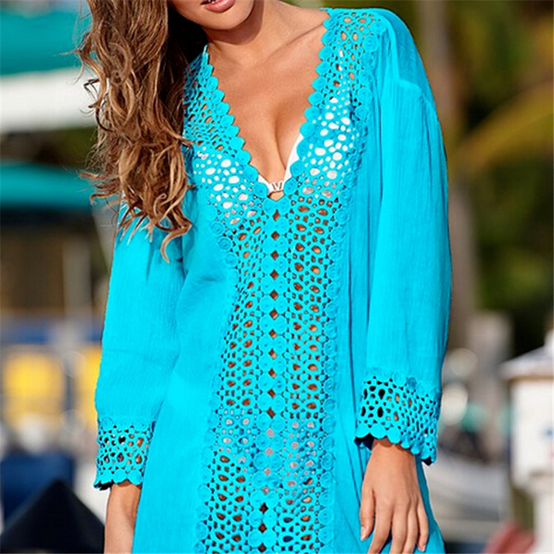 Hot Sale <font><b>Women</b></font> Summer <font><b>Lace</b></font> <font><b>Crochet</b></font> <font><b>Bikini</b></font> <font><b>Cover</b></font> Up <font><b>2018</b></font> <font><b>Sexy</b></font> Long Sleeve <font><b>Swimwear</b></font> <font><b>Cover</b></font> ups Bathing Beach V-neck Mini Dress Tops image