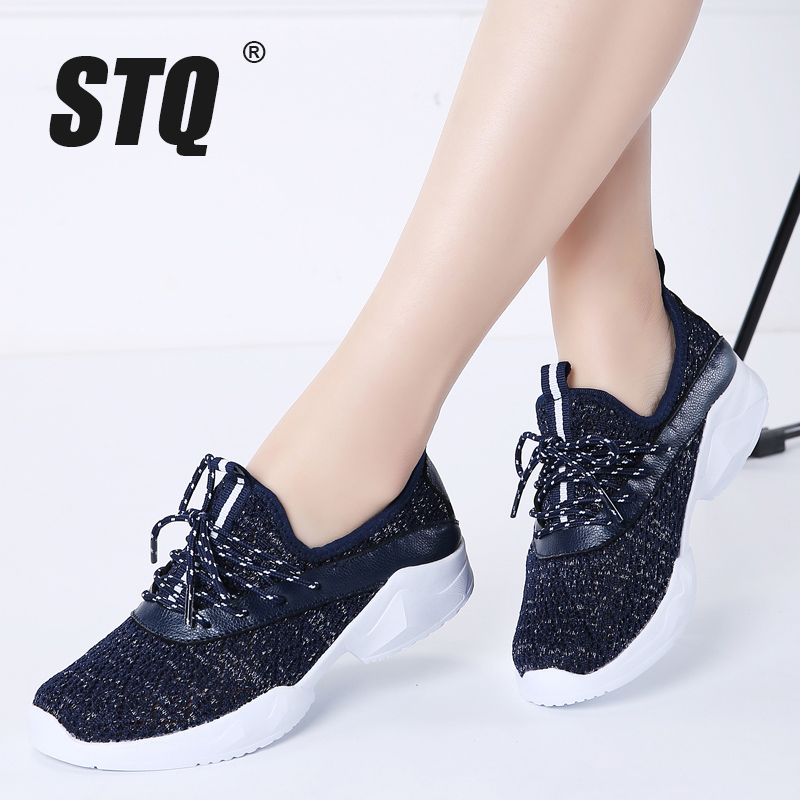 STQ Shoes Women Sneakers Lace-Up Autumn Breathable Casual for Flats 7728