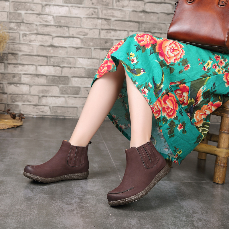 Genuine Leather Women Ankle Boots 3 CM Low Heels Chelsea Boots Autumn Shoes 2018 Women Leather Martin Boots Handmade Black Shoes real flame elford fobos