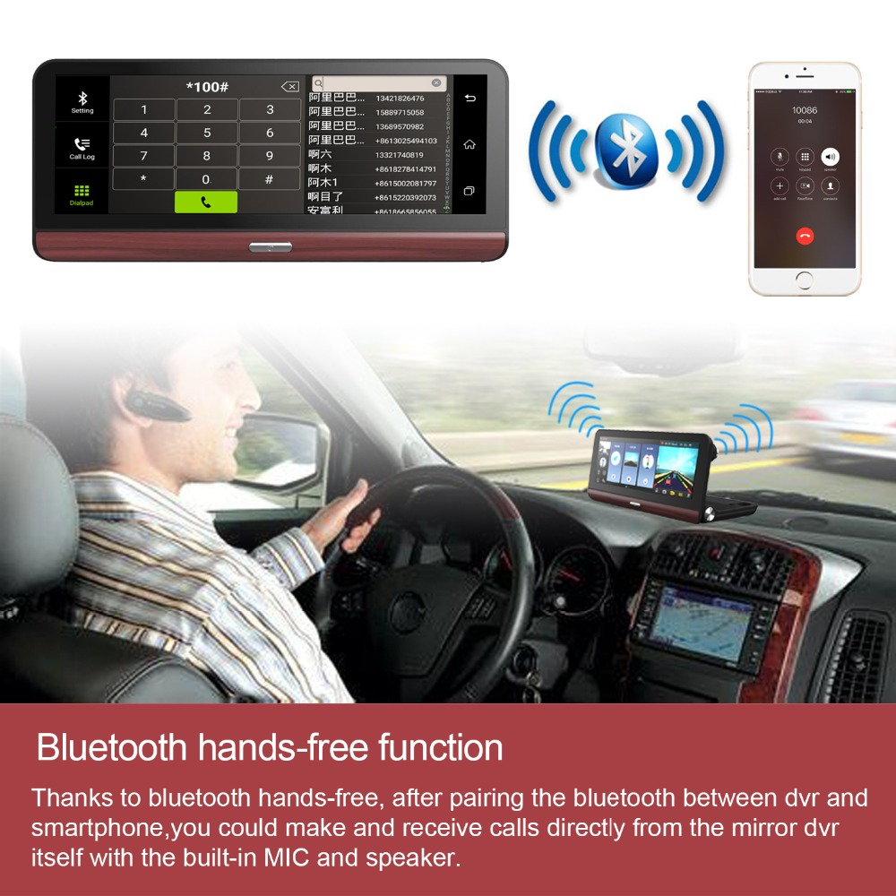 Dealcoo 8 inch Dash Cam with ADAS 4G Car DVR GPS Navigation Tracker Android Bluetooth Full HD 1080P Video Recorder Two Cameras