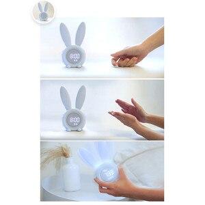 Image 3 - Reloj despertador creativo de conejo, reloj despertador Led Digital creativo de dibujos animados para sala de estar, suministros para el hogar