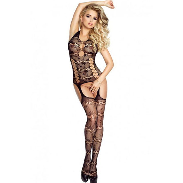 The Qixi Festival Valentine Sexy Black Halter Neck hollowed Halter seamless high elastic transparent Bodystockings 79867