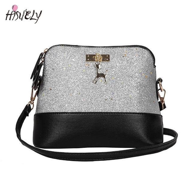 b0fcc72ac1 HISUELY New Sequins Women PU Leather Handbags Shoulder Bag Bling Bling  Shell Bags Messenger Crossbody Hobo Satchel Purse Girl