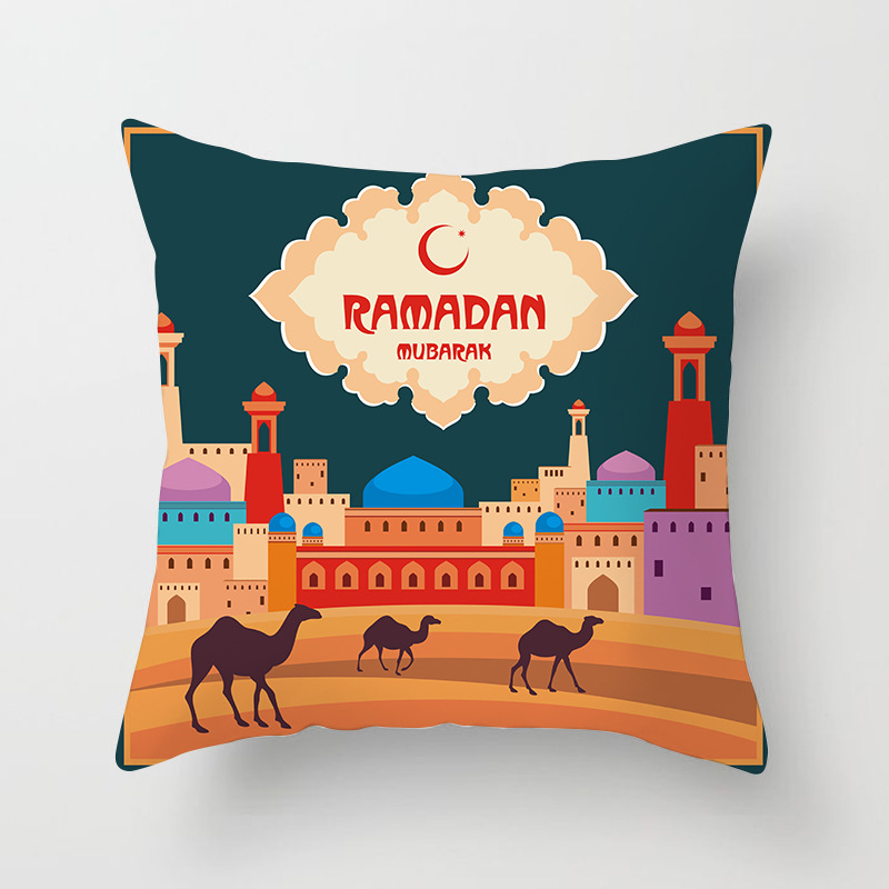 45x45cm Cotton Ramadan Mubarak Cushion Cover Eid Mubarak Decoration Home Islamic Muslim Party Favors Happy Eid Party Supplies