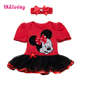 Red Cartoon Newborn Baby Rompers 2017 Cute Mouse Rufflesd Tutu Dresses for 0-2years Kids Casual  New Costume Dresses for Babies
