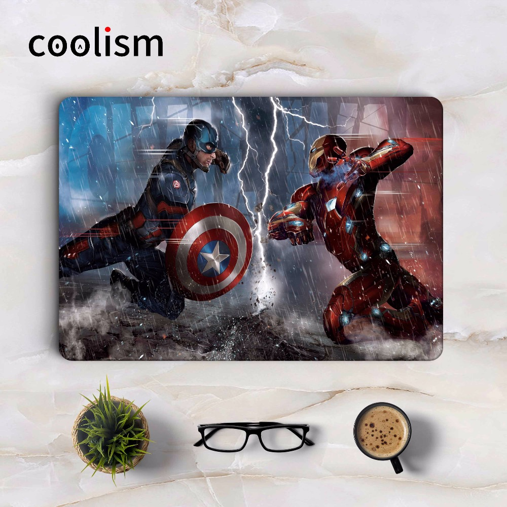 Captain America VS Iron Man Cool Laptop Sticker for Apple Macbook Air Pro Retina 11 12 13 15.6 inch Mac Notebook Full Cover Skin