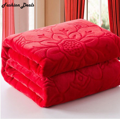Home Textile Red Color Coral Fleece Blanket Europe Thick Embossed - Home Textile - Photo 1