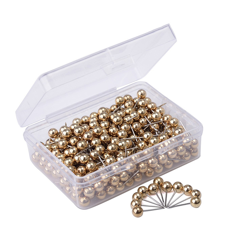 400 PCS Gold Silver Color Map Tacks Push Pins, With 1/ 5 Inch Round Plastic Head And Steel Point Thumb Tacks Pin Office School