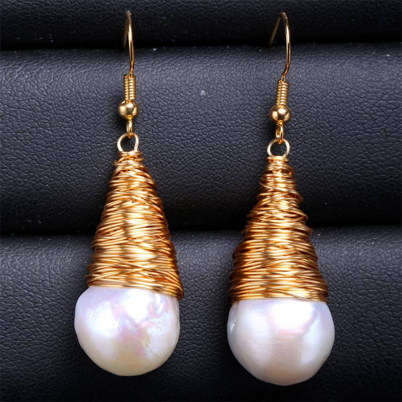 DAIMI Pearl Earrings The Baroque Water Pearl Earrings With 18k Gold Filled Earrings The Anniversary Gift filled with water on the glowing green camping emergency lights