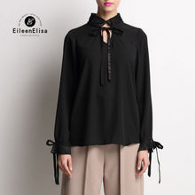 Runway Blouse 2017 Women High Quality Black Silk Long Sleeve Top Luxury Ruffled Blouses ruffled long sleeve top in black