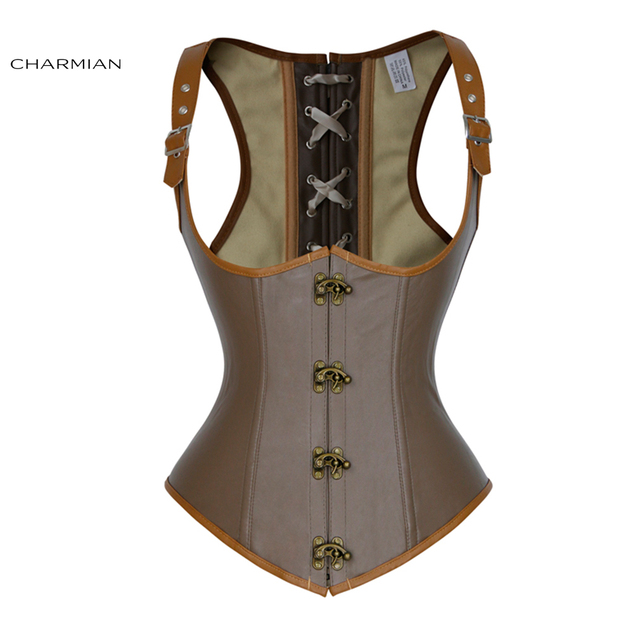 425ed0624 Charmian Women s Plus Size Steampunk Underbust Corset Vest Sexy Retro Brown Steel  Boned Corsets and Bustiers Waist Trainer