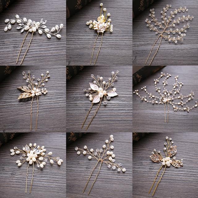 FORSEVEN Wedding Crystal Pearl Hair pins For Gold Bridal Hair Accessories Fashio