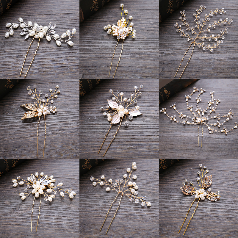 FORSEVEN Wedding font b Crystal b font Pearl Hair pins For Gold Bridal Hair Accessories Fashion