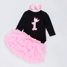 New Baby Clothing Set Girls Birthday Black Long Sleeve Letter Romper+Pink Color Tutu Skirt+Headband 2016 Original YK&Loving