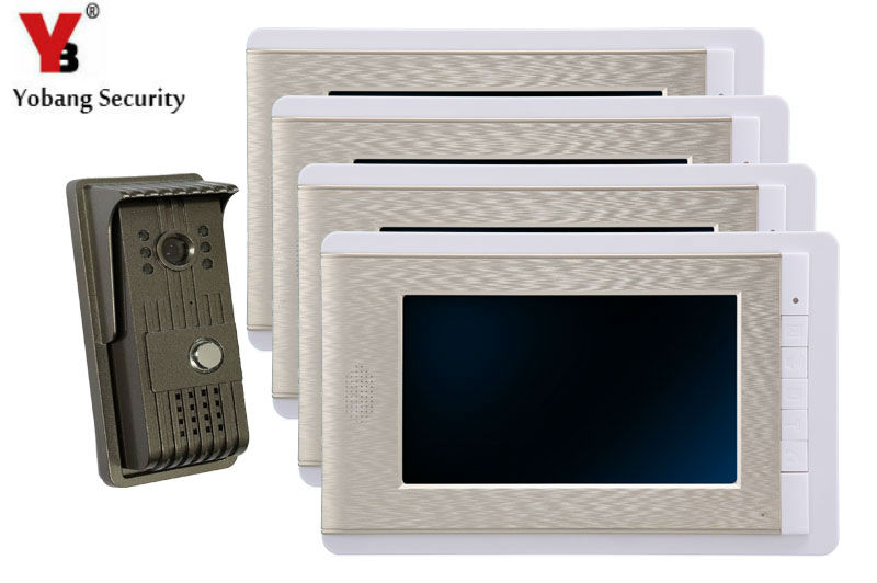 YobangSecurity 7 Inch Video Door Phone Doorbell Video Entry System Intercom Home Security Kit 1 camera 4 monitor Night Vision yobangsecurity 7 inch tft lcd home security video door phone doorbell entry intercom kit 1 ir camera with night vision 1 monitor