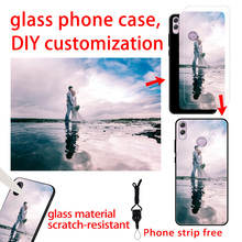 Honor 8X Case Customized Tempered Glass on honor 8x DIY Photo Galss back cover for Huawei funda 8xmax coque