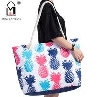 Women Bag Polyester Waterproof Handbag Summer Beach Bag Pineapple Printed Large Size Tote Bags Travel Holiday