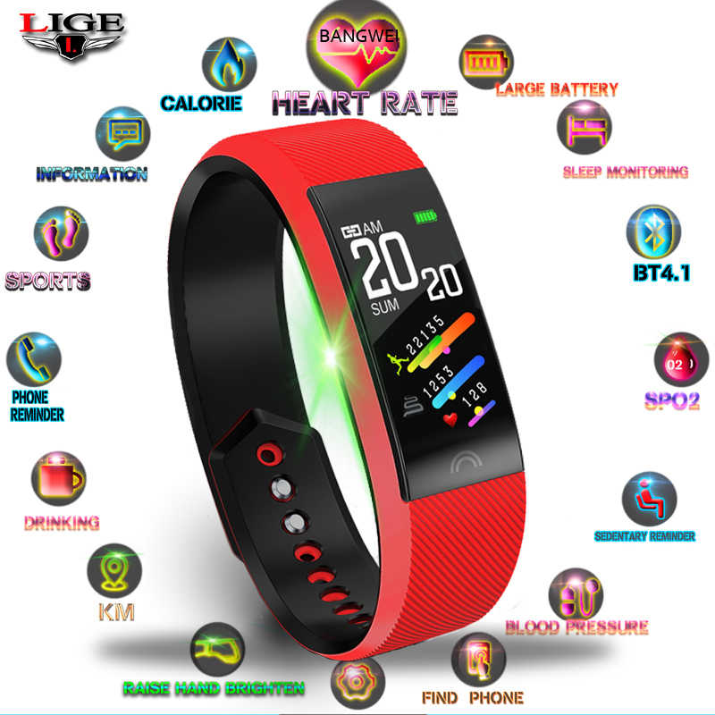 LIGE 2019 New Women Smart Sport Bracelet Heart Rate Monitor Pedometer Bluetooth Connection Waterproof Watch For Android IOS +Box
