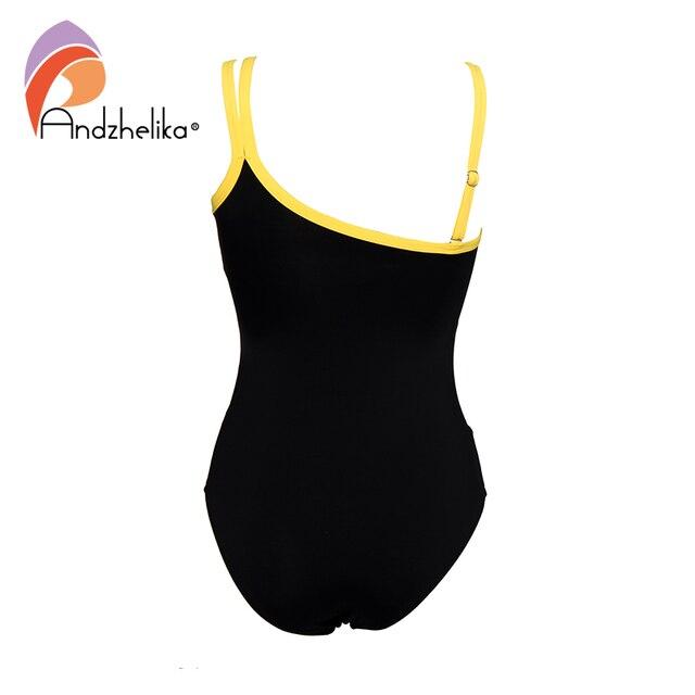 Andzhelika Sexy jedno ramię jednoczęściowy strój kąpielowy 2020 nowy Off ramię siatkowy patchwork stroje kąpielowe body strój kąpielowy Monokini