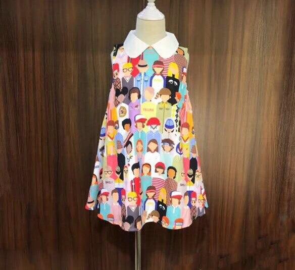 2019 été soie amis imprimé bébé filles robe colorée sans manches robe pour fille princesse Boutique robe de soirée pretti