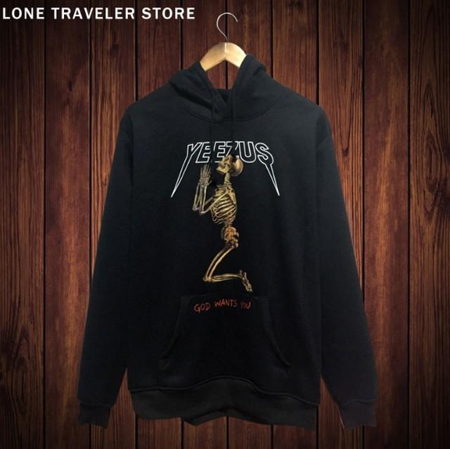 hip-hop yeezy streetwear  mens hoodies and sweatshirts cotton mens hoodies yeezus kanye west skeleton god wants you