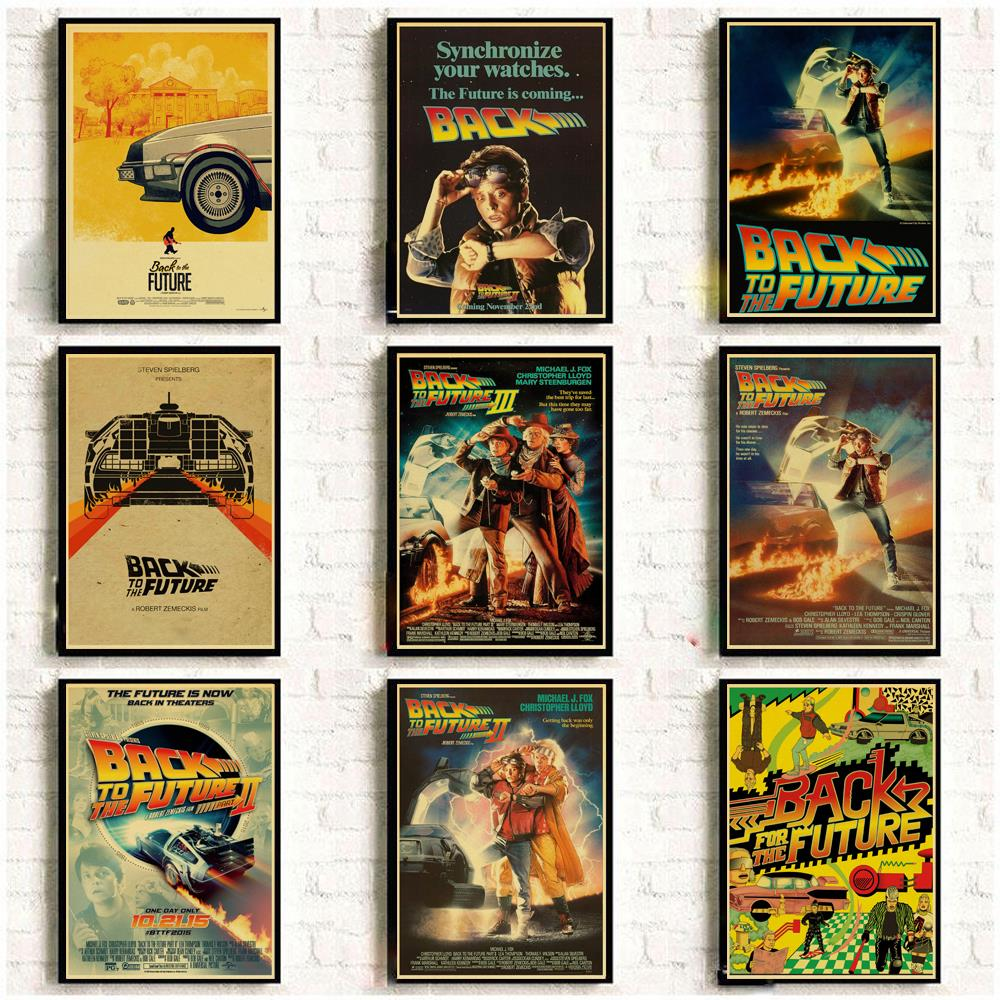 Vintage Posters Wall-Sticker Kraft-Paper Movie Classic Back-To-The-Future Bar/living-Decor