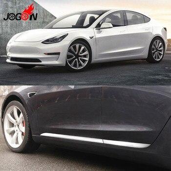 4 개/대 스테인레스 스틸 사이드 도어 바디 몰딩 프로텍터 플레이트 트림 모델 3 2017 2018 자동차 스타일링