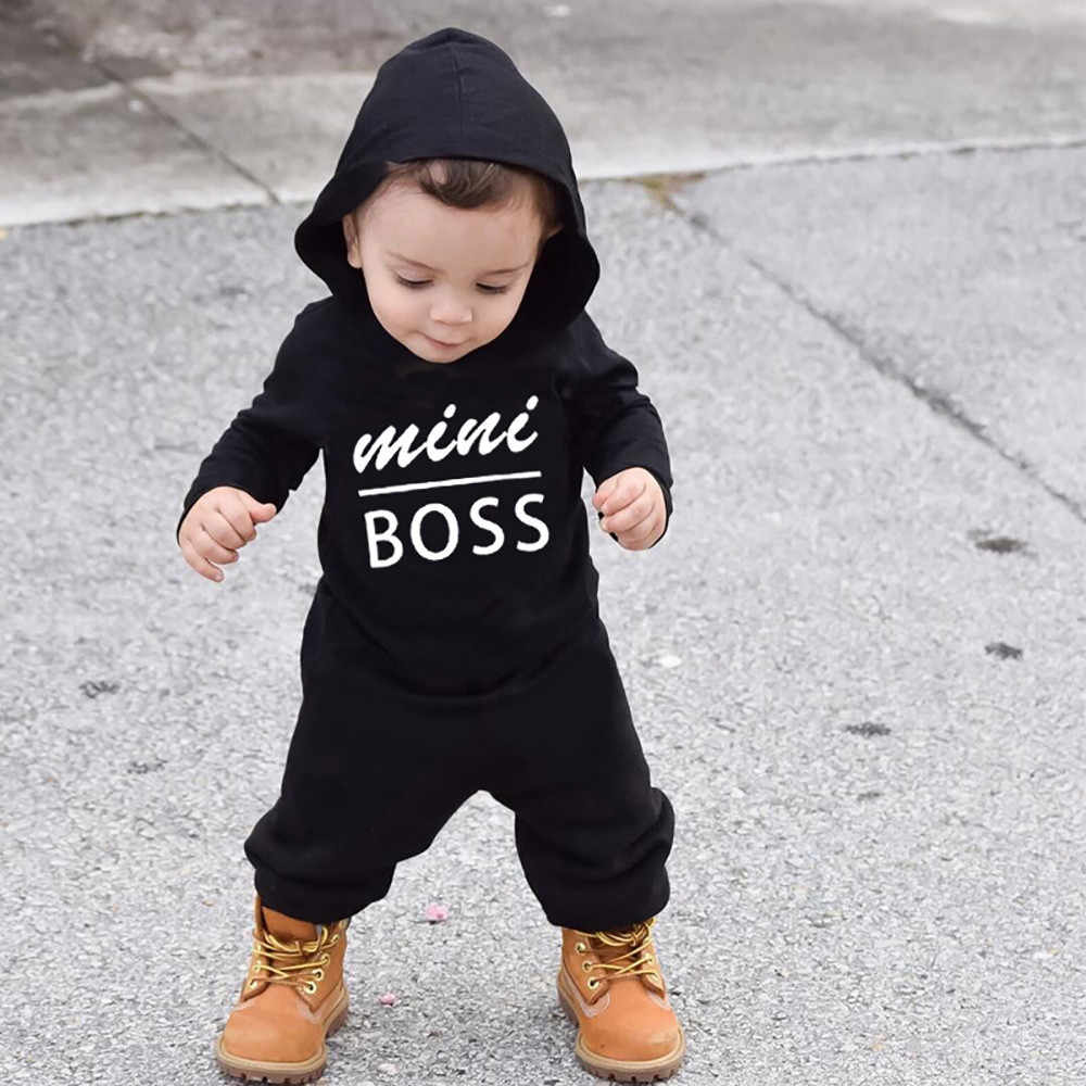 1acae6d93552 Toddler Kids Baby Letter Boys Girls Hoodie Outfits Clothes Romper Jumpsuit  Infant Clothing mini boss kids