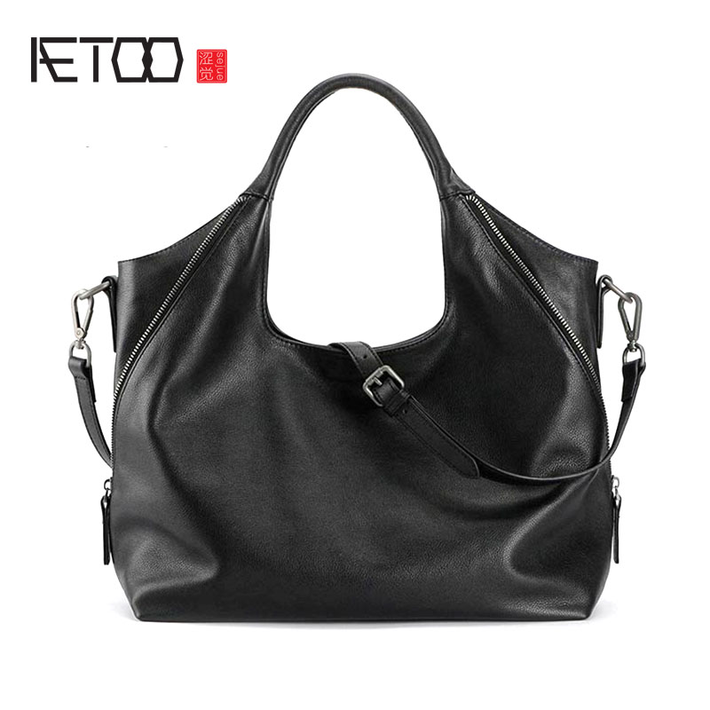 AETOO Original new first layer of leather shoulder Messenger bag women's leather handbag simple wild Crescent Moon tide aetoo first layer of leather korean version of the tide ladies oil wax leather handbag ladies shoulder messenger bag