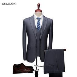 Для мужчин высокого класса Бутик комплект для досуга платье высокого качества Однобортный Бизнес Повседневное Для мужчин, тонкий блейзеры