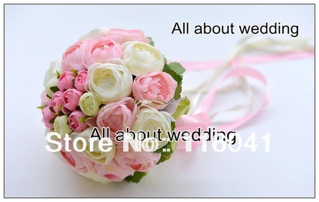 White Pink Tea Rose Flower Wedding Bridal Bouquet Bridesmaid Bouquet pink bouquet